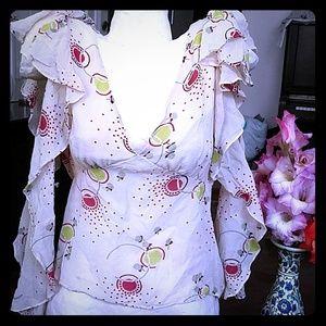 Marc Jacobs silk ruffle printed blouse w cutouts
